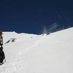Caning up Wishbone Couloir, Turk (13,180′), Silverton, CO