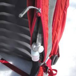Hydration zipper in shoulder strap