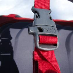 Chest strap with built in whistle