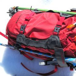 Pack in ride mode with axe and trekking poles stowed