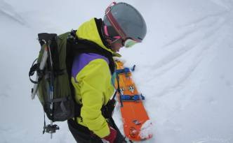 Lacce is riding a 166 Freeride, no fear!