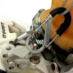Carabiner shown attached to Dynafit