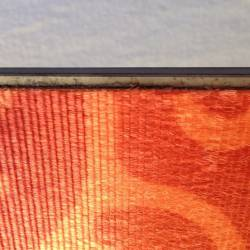 Fit skin so just metal edge showing on straight (center) side