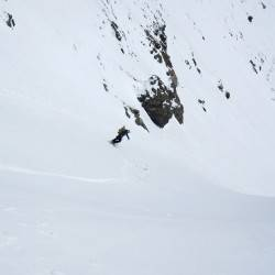 Bombing down the Wishbone Couloir, Grand Turk (13,180′), Silverton, CO